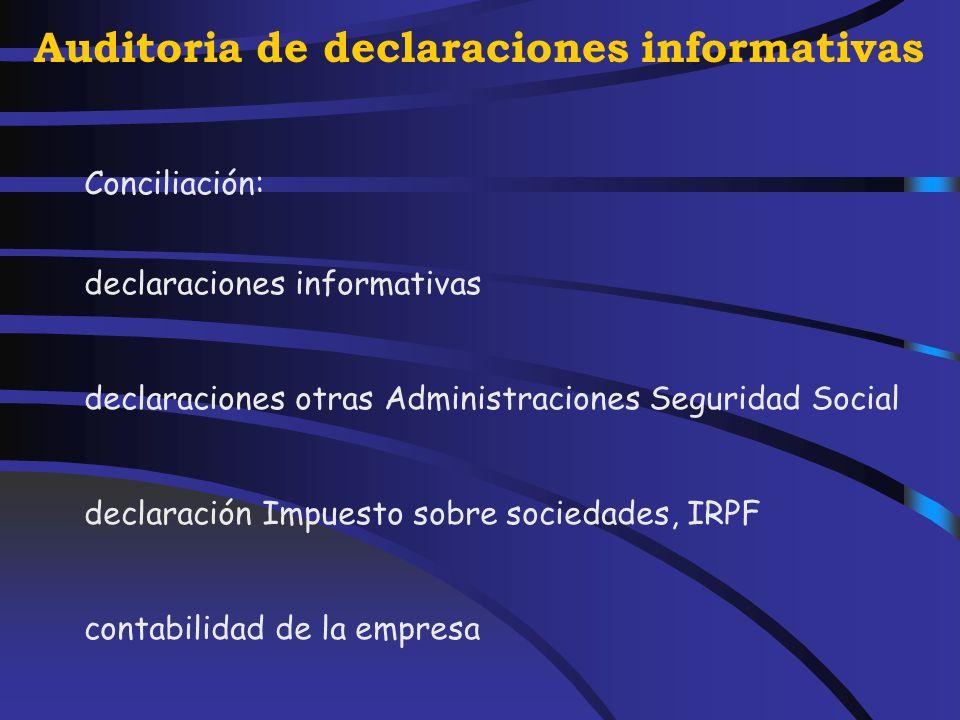 Auditoria de declaraciones informativas Situación contable Cuentas: Subgrupo 64 640 641 642 643 649