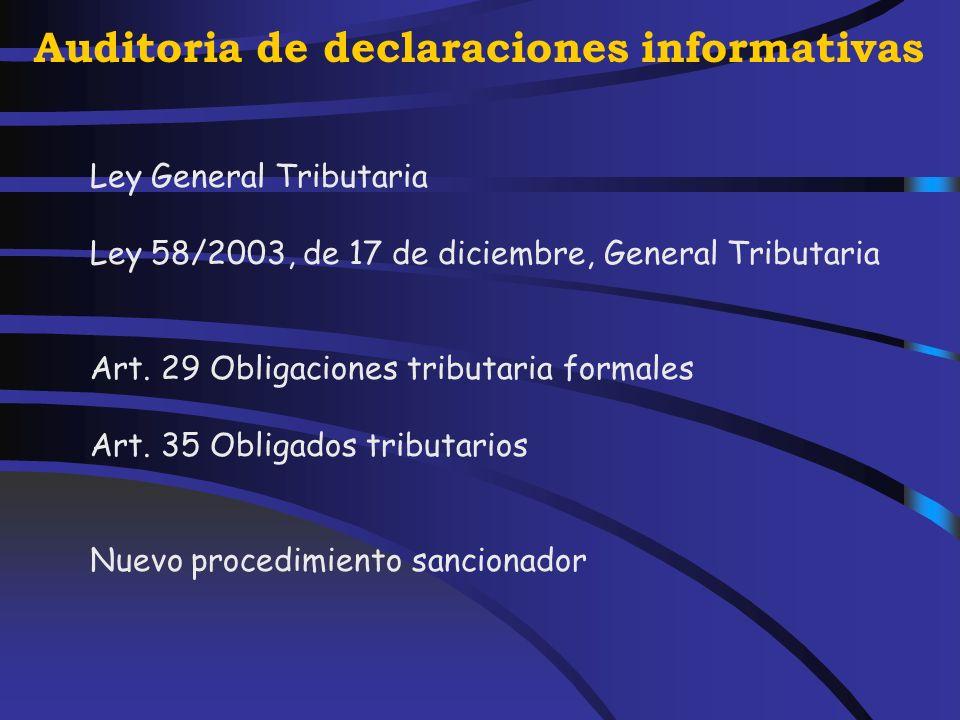 Auditoria de declaraciones informativas Verificación de la correcta aplicación de tipos Cumplimiento de los periodos.