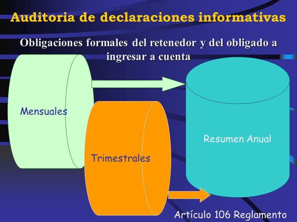 Auditoria de declaraciones informativas Normativa Artículos 101 a 103 de la Ley del Impuesto Artículos 101 a 103 de la Ley del Impuesto Artículos 72 a 109 del Reglamento Artículos 72 a 109 del Reglamento