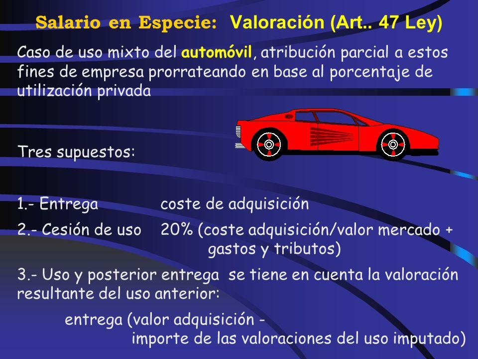 Salario en Especie: Valoración (Art..