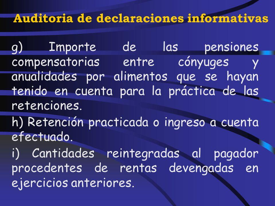 Auditoria de declaraciones informativas d) Reducciones aplicadas con arreglo a lo previsto en los artículos 17, apartados 2 y 3, 24.2 y 94 de la Ley del Impuesto.