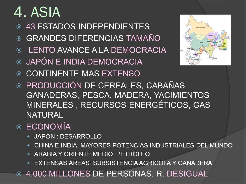 4. ASIA 43 ESTADOS INDEPENDIENTES GRANDES DIFERENCIAS TAMAÑO LENTO AVANCE A LA DEMOCRACIA JAPÓN E INDIA DEMOCRACIA CONTINENTE MAS EXTENSO PRODUCCIÓN D