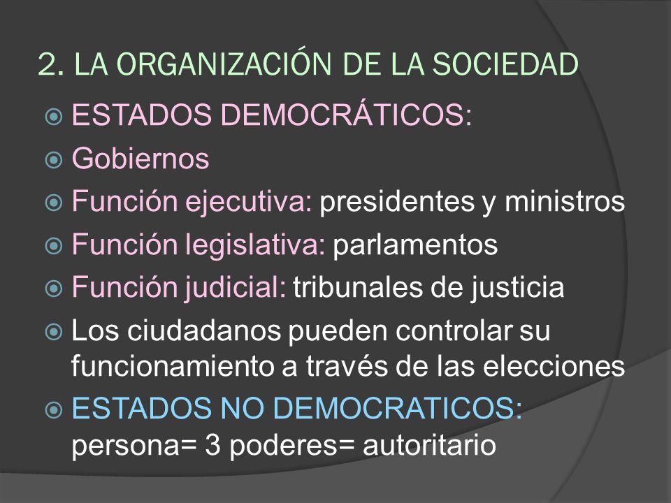 2. LA ORGANIZACIÓN DE LA SOCIEDAD ESTADOS DEMOCRÁTICOS: Gobiernos Función ejecutiva: presidentes y ministros Función legislativa: parlamentos Función