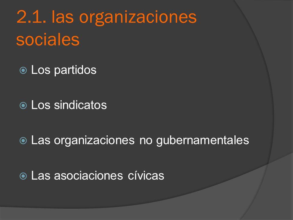2.1. las organizaciones sociales Los partidos Los sindicatos Las organizaciones no gubernamentales Las asociaciones cívicas