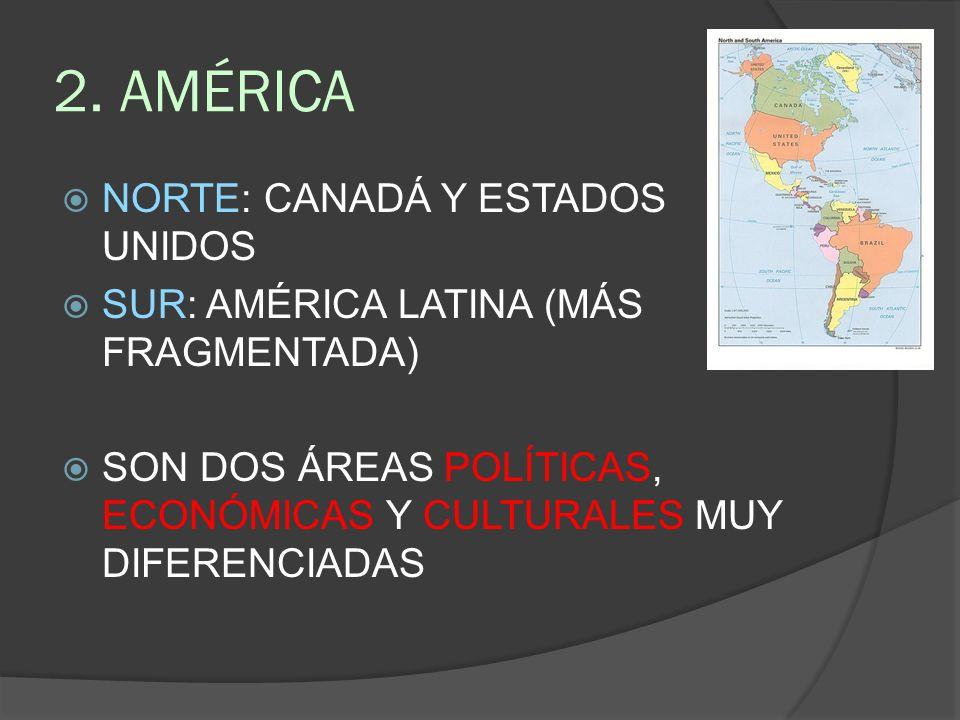 2. AMÉRICA NORTE: CANADÁ Y ESTADOS UNIDOS SUR: AMÉRICA LATINA (MÁS FRAGMENTADA) SON DOS ÁREAS POLÍTICAS, ECONÓMICAS Y CULTURALES MUY DIFERENCIADAS