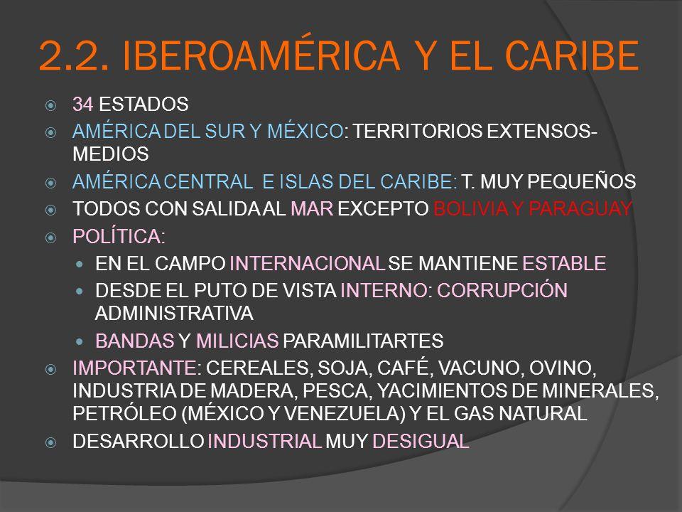 2.2. IBEROAMÉRICA Y EL CARIBE 34 ESTADOS AMÉRICA DEL SUR Y MÉXICO: TERRITORIOS EXTENSOS- MEDIOS AMÉRICA CENTRAL E ISLAS DEL CARIBE: T. MUY PEQUEÑOS TO