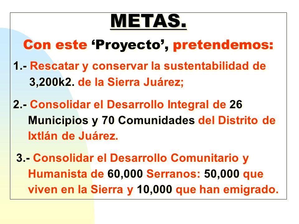 METAS. Con este Proyecto, pretendemos: 1.- Rescatar y conservar la sustentabilidad de 3,200k2. de la Sierra Juárez; 2.- Consolidar el Desarrollo Integ