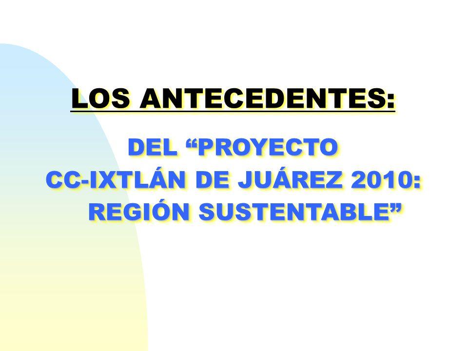 LOS ANTECEDENTES: DEL PROYECTO CC-IXTLÁN DE JUÁREZ 2010: REGIÓN SUSTENTABLE LOS ANTECEDENTES: DEL PROYECTO CC-IXTLÁN DE JUÁREZ 2010: REGIÓN SUSTENTABL