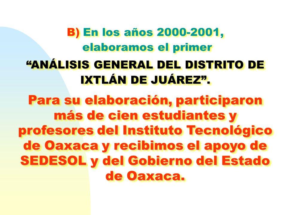 B) En los años 2000-2001, elaboramos el primer ANÁLISIS GENERAL DEL DISTRITO DE IXTLÁN DE JUÁREZ.ANÁLISIS GENERAL DEL DISTRITO DE IXTLÁN DE JUÁREZ. Pa
