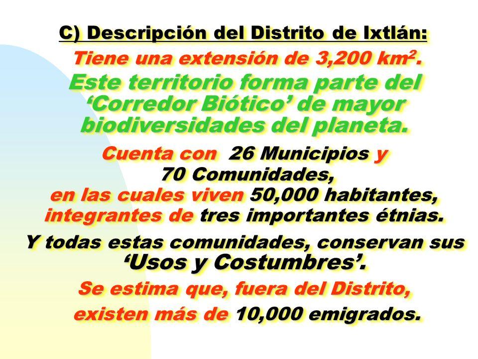 C) Descripción del Distrito de Ixtlán: Tiene una extensión de 3,200 km 2. Tiene una extensión de 3,200 km 2. Este territorio forma parte del Corredor