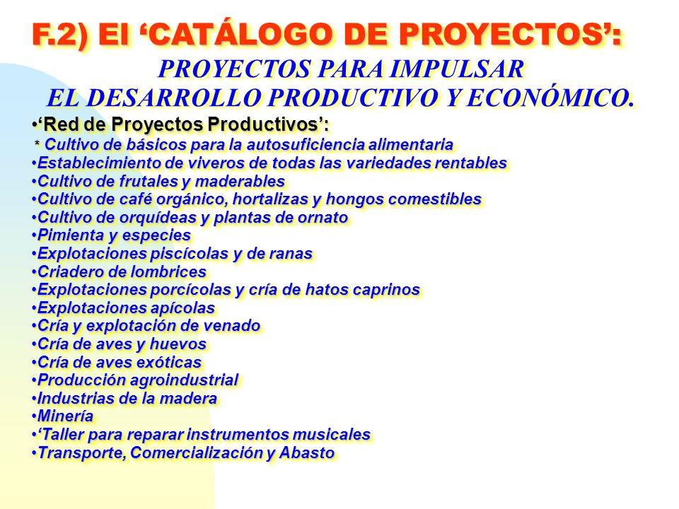 F.2) El CATÁLOGO DE PROYECTOS: PROYECTOS PARA IMPULSAR EL DESARROLLO PRODUCTIVO Y ECONÓMICO. Red de Proyectos Productivos:Red de Proyectos Productivos