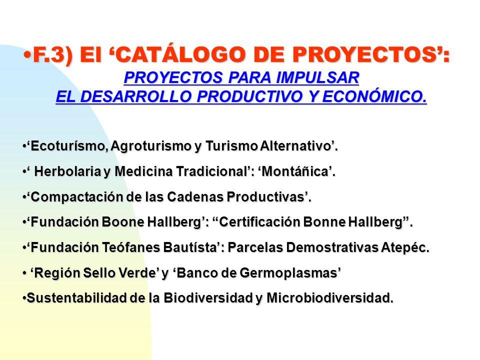 F.3) El CATÁLOGO DE PROYECTOS:F.3) El CATÁLOGO DE PROYECTOS: PROYECTOS PARA IMPULSAR EL DESARROLLO PRODUCTIVO Y ECONÓMICO. Ecoturísmo, Agroturismo y T