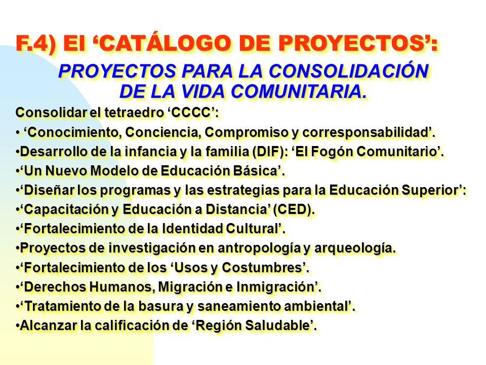 F.4) El CATÁLOGO DE PROYECTOS: PROYECTOS PARA LA CONSOLIDACIÓN DE LA VIDA COMUNITARIA. Consolidar el tetraedro CCCC: Conocimiento, Conciencia, Comprom