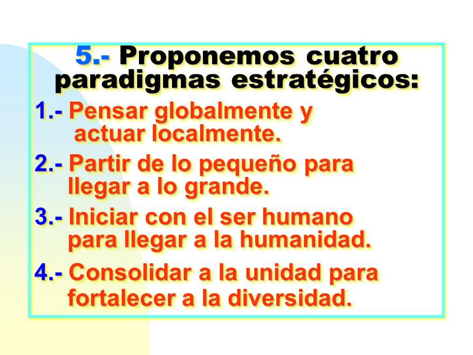 5.- Proponemos cuatro paradigmas estratégicos: 1.- Pensar globalmente y actuar localmente. actuar localmente. 2.- Partir de lo pequeño para llegar a l