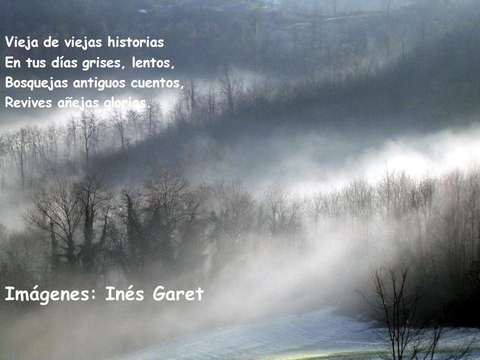 Vieja de viejas historias En tus días grises, lentos, Bosquejas antiguos cuentos, Revives añejas glorias.