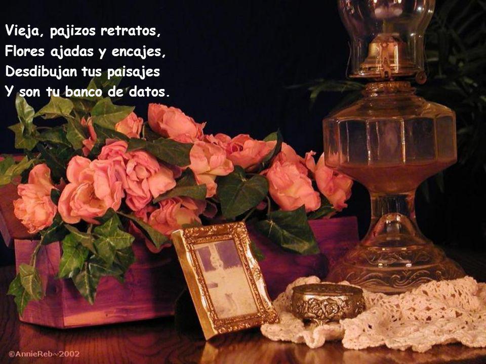 Vieja, contemplas perpleja Tu imagen en el espejo, Te repugna el fiel reflejo Que es presagio y te acompleja.