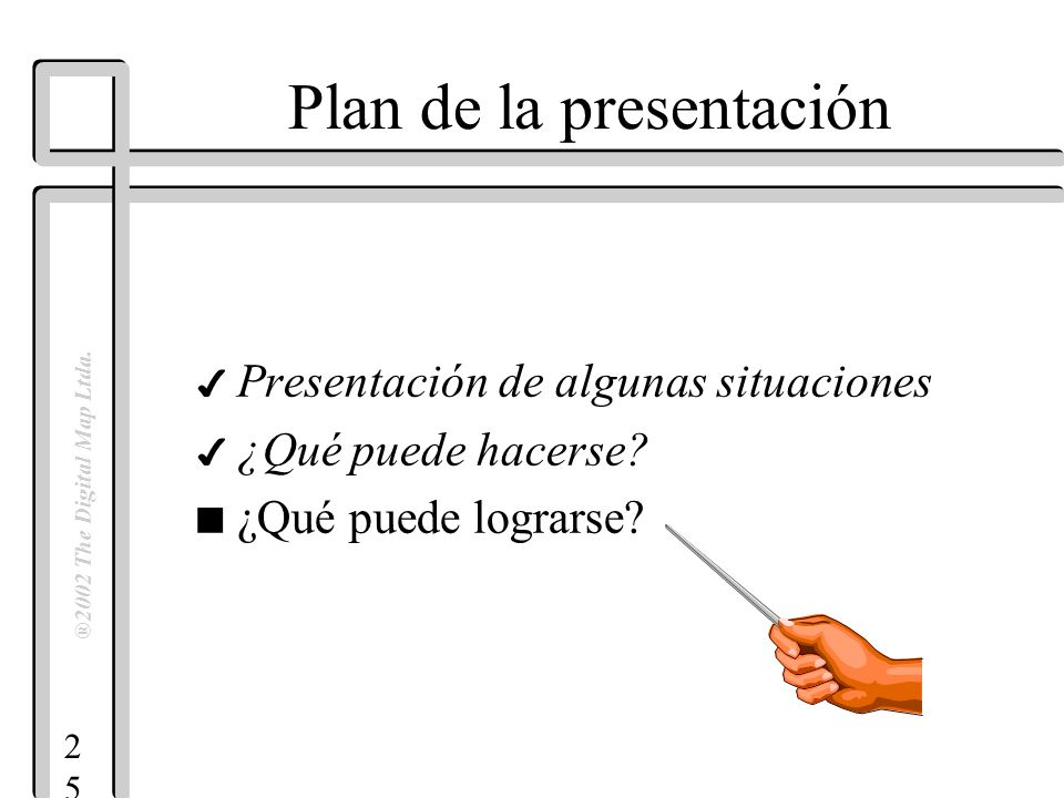 2525 ®2002 The Digital Map Ltda. Plan de la presentación 4 Presentación de algunas situaciones 4 ¿Qué puede hacerse? n ¿Qué puede lograrse?