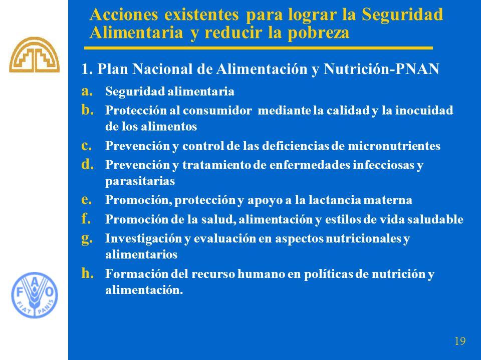 19 a. Seguridad alimentaria b. Protección al consumidor mediante la calidad y la inocuidad de los alimentos c. Prevención y control de las deficiencia