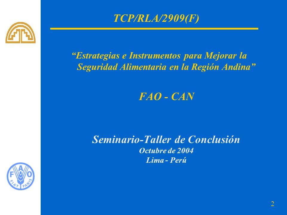 2 Estrategias e Instrumentos para Mejorar la Seguridad Alimentaria en la Región Andina FAO - CAN Seminario-Taller de Conclusión Octubre de 2004 Lima -