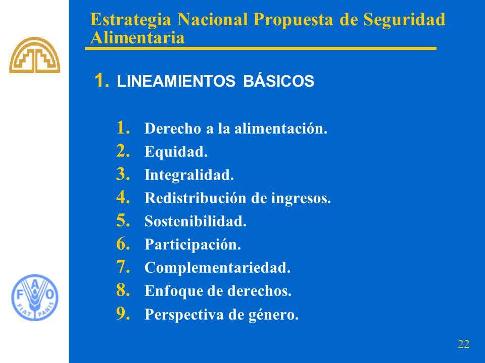 22 1. Derecho a la alimentación. 2. Equidad. 3. Integralidad. 4. Redistribución de ingresos. 5. Sostenibilidad. 6. Participación. 7. Complementariedad