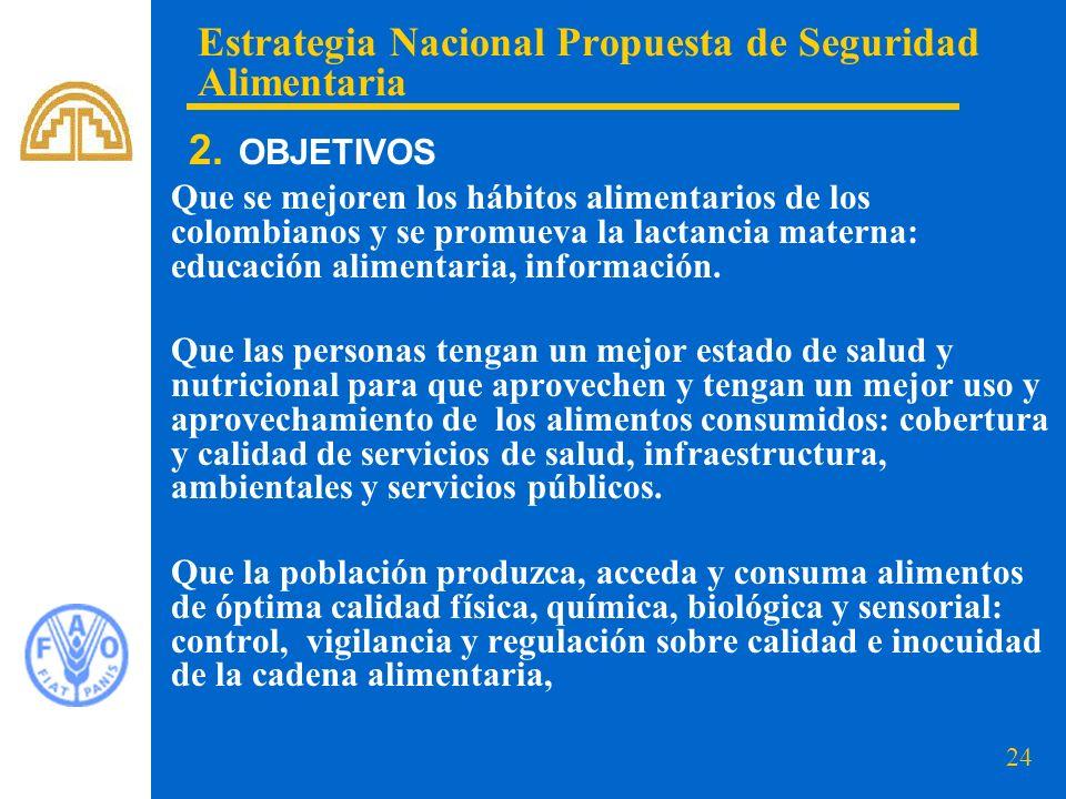 24 Que se mejoren los hábitos alimentarios de los colombianos y se promueva la lactancia materna: educación alimentaria, información. Que las personas