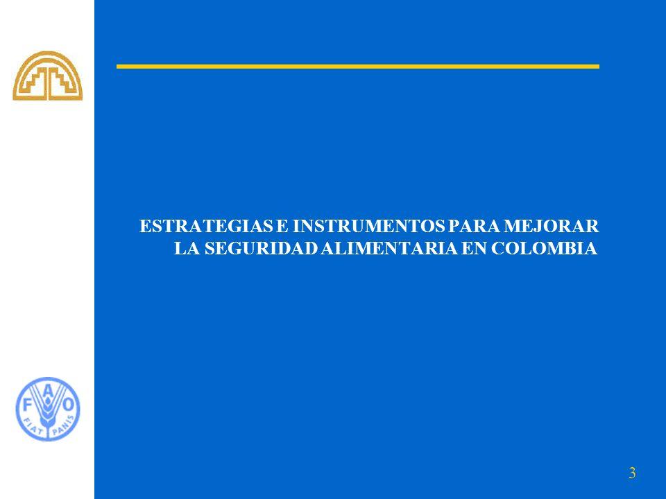 4 Diagnóstico de la Situación de Seguridad Alimentaria en Colombia Habitantes 2004: 45.3 millones.