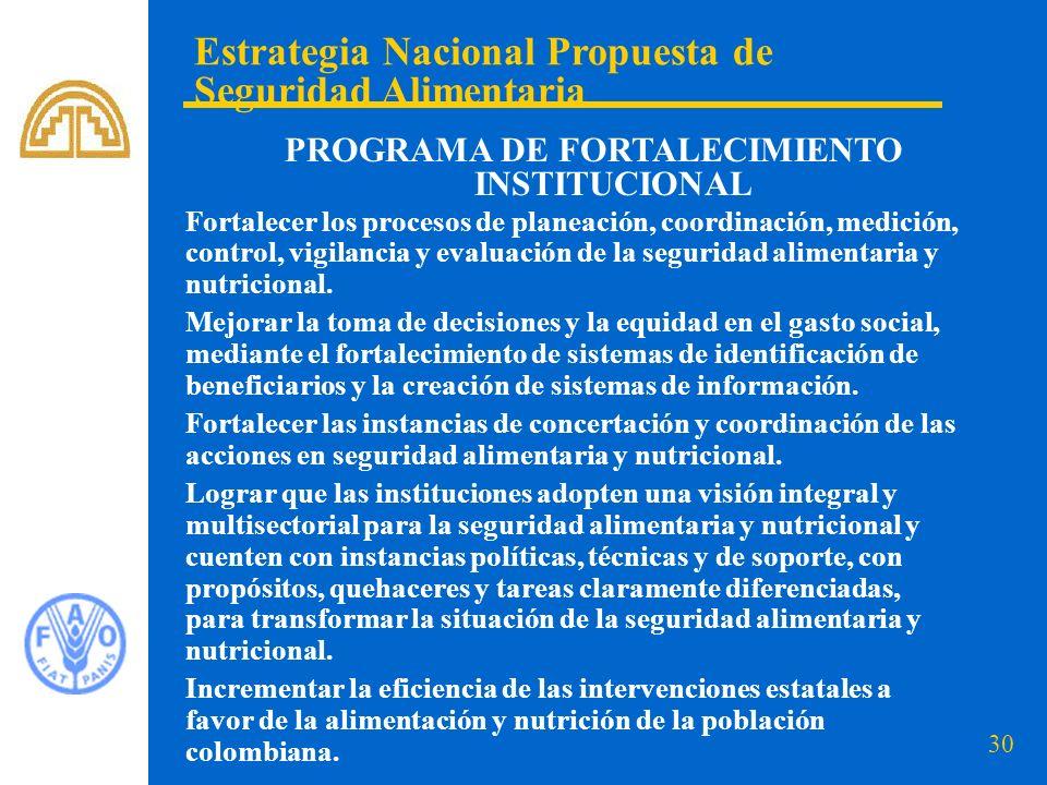 30 Estrategia Nacional Propuesta de Seguridad Alimentaria PROGRAMA DE FORTALECIMIENTO INSTITUCIONAL Fortalecer los procesos de planeación, coordinació