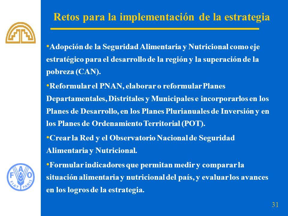 31 Retos para la implementación de la estrategia Adopción de la Seguridad Alimentaria y Nutricional como eje estratégico para el desarrollo de la regi