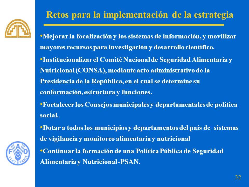 33 Retos para la implementación de la estrategia POLÍTICA PÚBLICA DE SEGURIDAD ALIMENTARIA Y NUTRICIONAL – PSAN, EN COLOMBIA POLÍTICA PÚBLICA POLÍTICA DE ESTADO AVANCES PROCESO Mesa Nacional Secretaría Técnica Documento preliminar de Política Talleres departamentales Talleres regionales Concertación entidades nacionales Consultas expertos, organismos internacionales y gremios Conpes Ley marco de la Seguridad Alimentaria y Nutricional