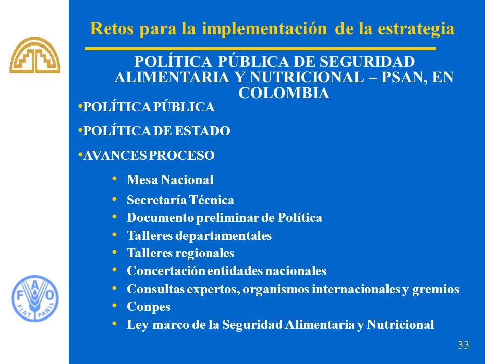 33 Retos para la implementación de la estrategia POLÍTICA PÚBLICA DE SEGURIDAD ALIMENTARIA Y NUTRICIONAL – PSAN, EN COLOMBIA POLÍTICA PÚBLICA POLÍTICA