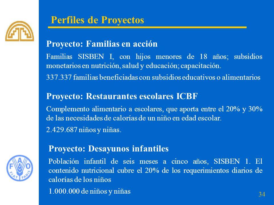 34 Perfiles de Proyectos Proyecto: Familias en acción Familias SISBEN I, con hijos menores de 18 años; subsidios monetarios en nutrición, salud y educ