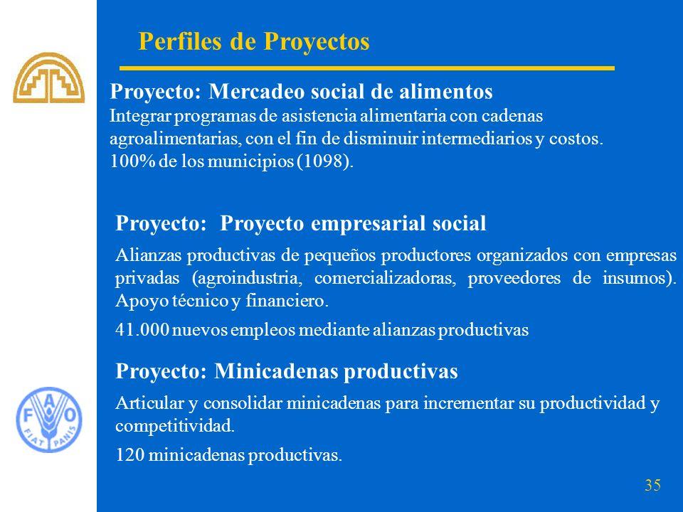 35 Perfiles de Proyectos Proyecto: Mercadeo social de alimentos Integrar programas de asistencia alimentaria con cadenas agroalimentarias, con el fin