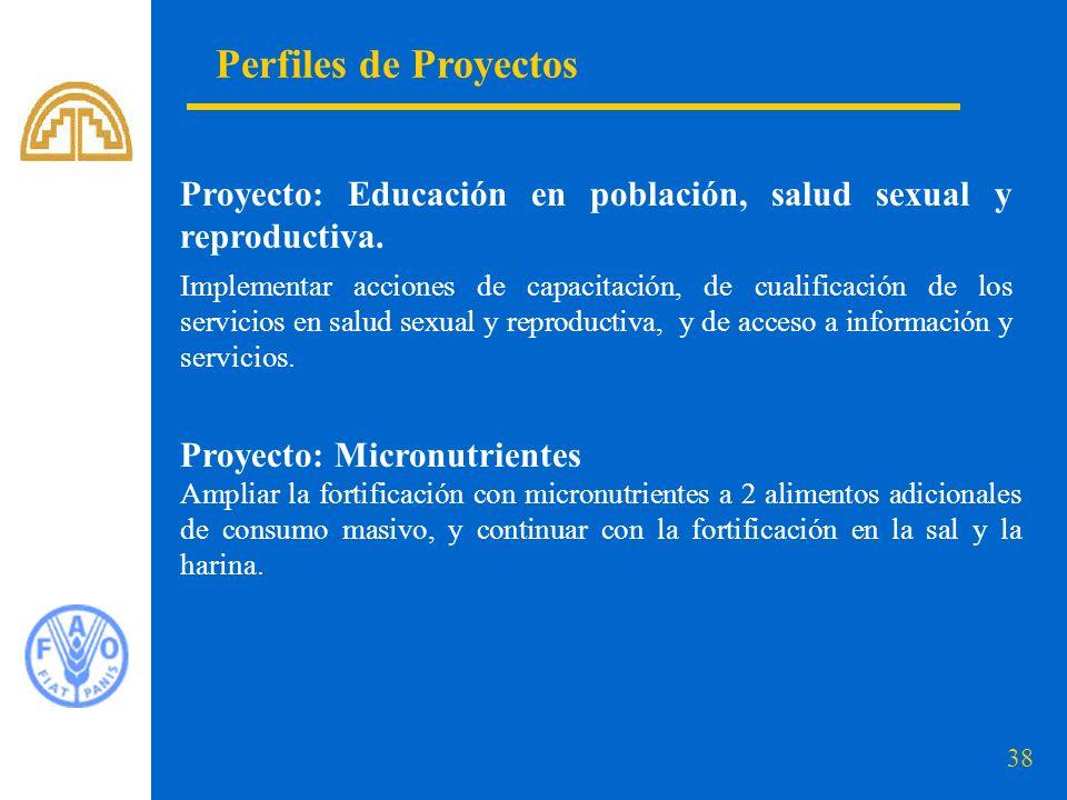38 Perfiles de Proyectos Proyecto: Educación en población, salud sexual y reproductiva. Implementar acciones de capacitación, de cualificación de los