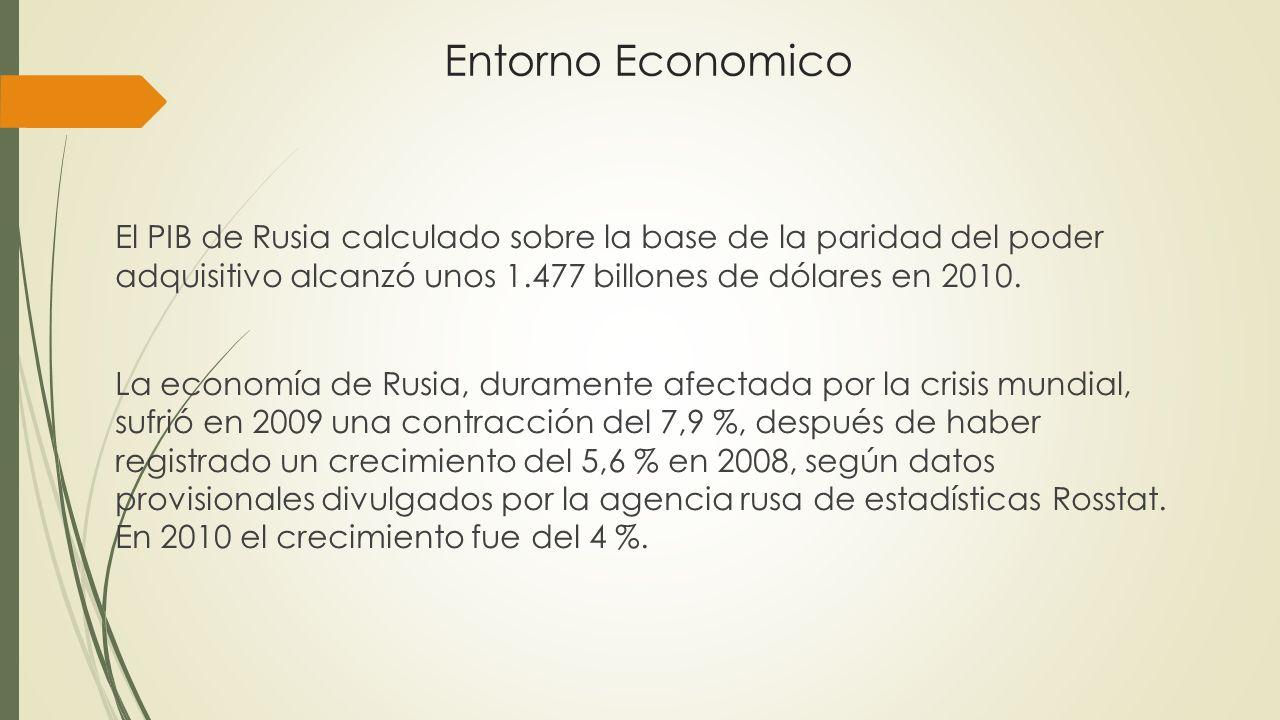 Entorno Economico El PIB de Rusia calculado sobre la base de la paridad del poder adquisitivo alcanzó unos 1.477 billones de dólares en 2010. La econo