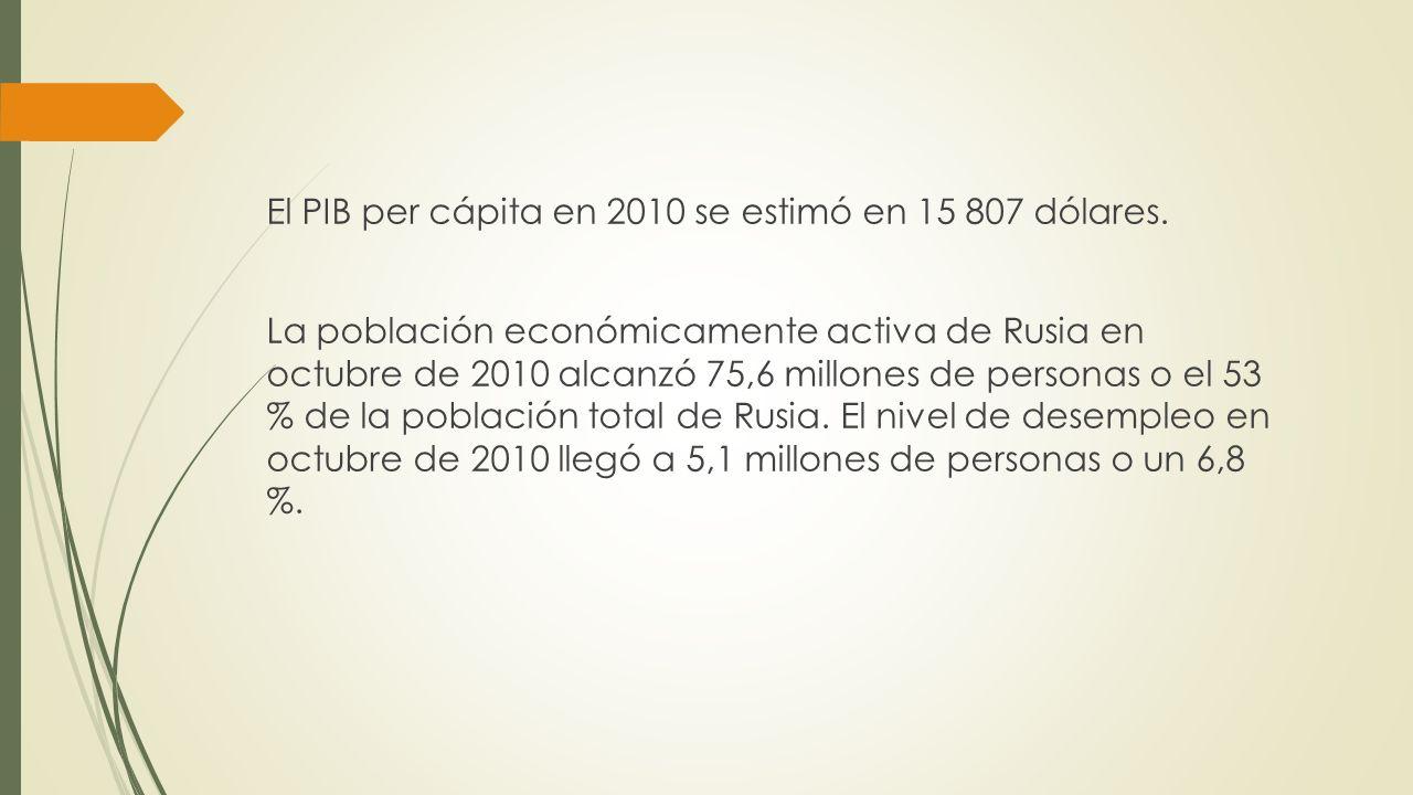 El PIB per cápita en 2010 se estimó en 15 807 dólares. La población económicamente activa de Rusia en octubre de 2010 alcanzó 75,6 millones de persona