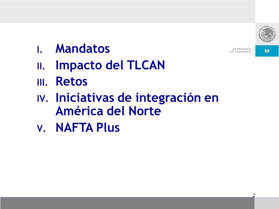2 I. Mandatos II. Impacto del TLCAN III. Retos IV. Iniciativas de integración en América del Norte V. NAFTA Plus