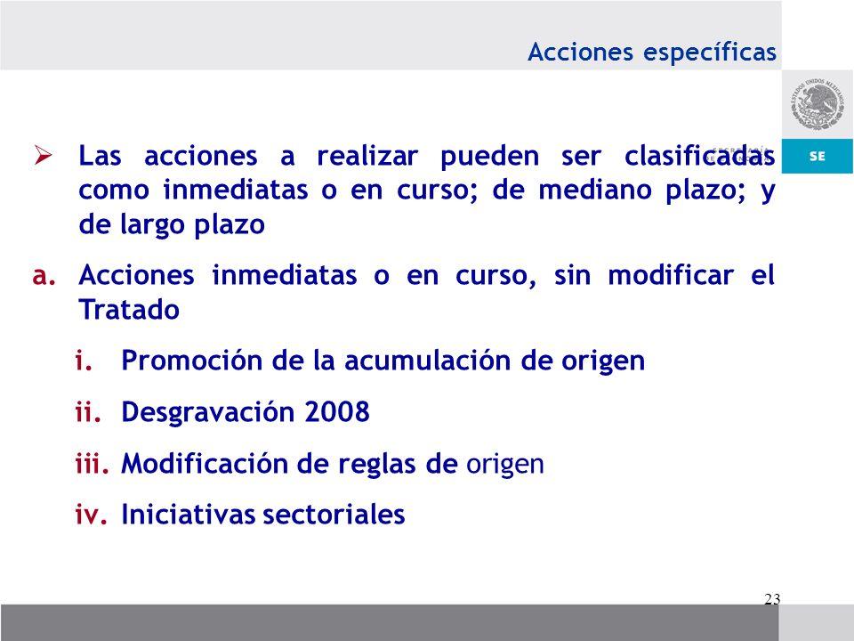 23 Acciones específicas Las acciones a realizar pueden ser clasificadas como inmediatas o en curso; de mediano plazo; y de largo plazo a.Acciones inme