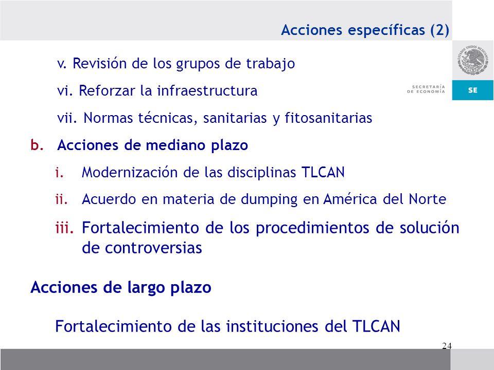 24 Acciones específicas (2) v. Revisión de los grupos de trabajo vi. Reforzar la infraestructura vii. Normas técnicas, sanitarias y fitosanitarias b.A