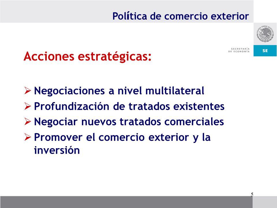 5 Acciones estratégicas: Negociaciones a nivel multilateral Profundización de tratados existentes Negociar nuevos tratados comerciales Promover el com