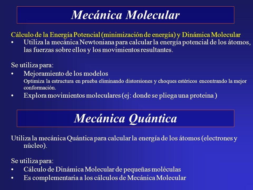 Cálculo de la Energía Potencial (minimización de energía) y Dinámica Molecular Utiliza la mecánica Newtoniana para calcular la energía potencial de lo