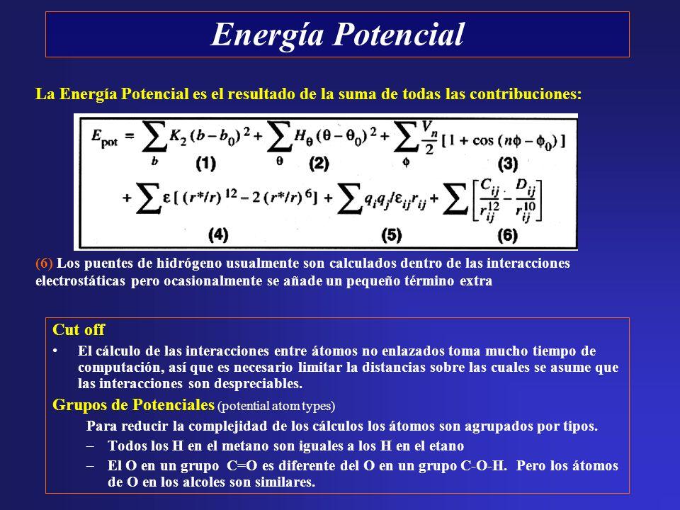 Cut off El cálculo de las interacciones entre átomos no enlazados toma mucho tiempo de computación, así que es necesario limitar la distancias sobre l