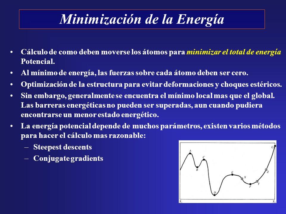 Cálculo de como deben moverse los átomos para minimizar el total de energía Potencial. Al mínimo de energía, las fuerzas sobre cada átomo deben ser ce