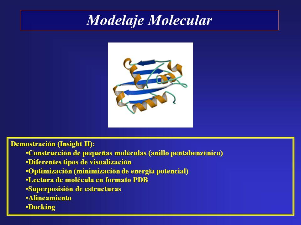Demostración (Insight II): Construcción de pequeñas moléculas (anillo pentabenzénico) Diferentes tipos de visualización Optimización (minimización de