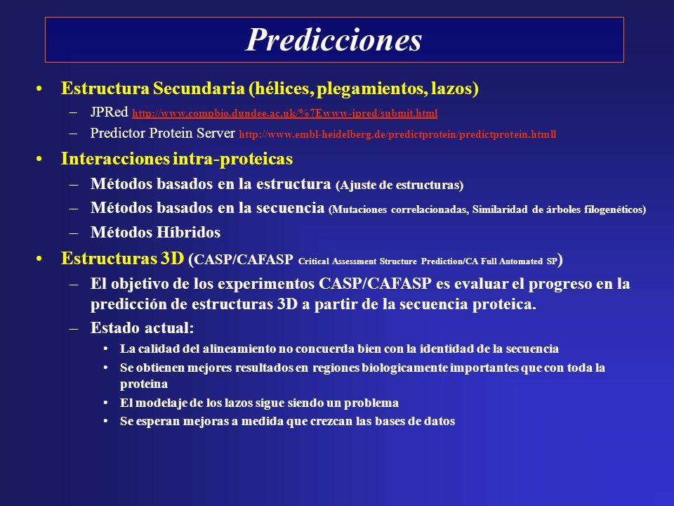 Predicciones Estructura Secundaria (hélices, plegamientos, lazos) –JPRed http://www.compbio.dundee.ac.uk/%7Ewww-jpred/submit.html http://www.compbio.d