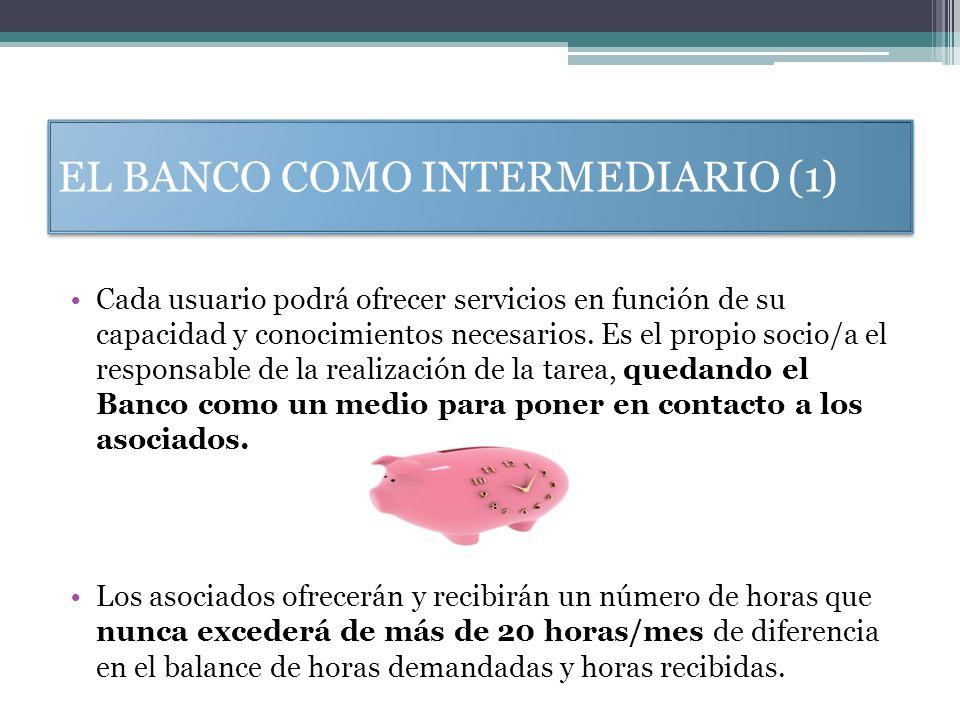 EL BANCO COMO INTERMEDIARIO (1) Cada usuario podrá ofrecer servicios en función de su capacidad y conocimientos necesarios. Es el propio socio/a el re