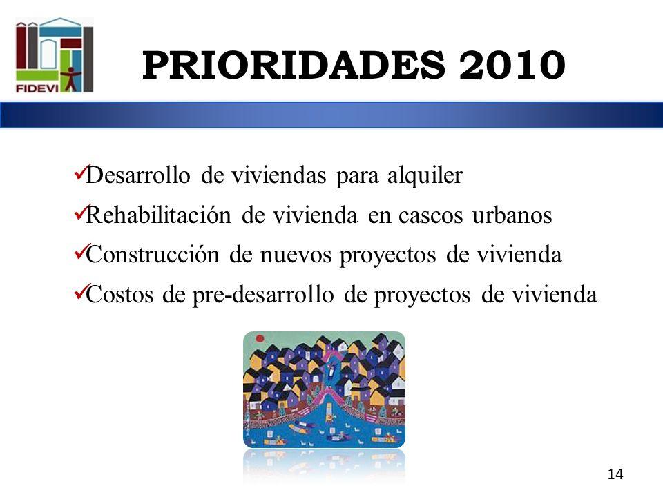 Desarrollo de viviendas para alquiler Rehabilitación de vivienda en cascos urbanos Construcción de nuevos proyectos de vivienda Costos de pre-desarrol