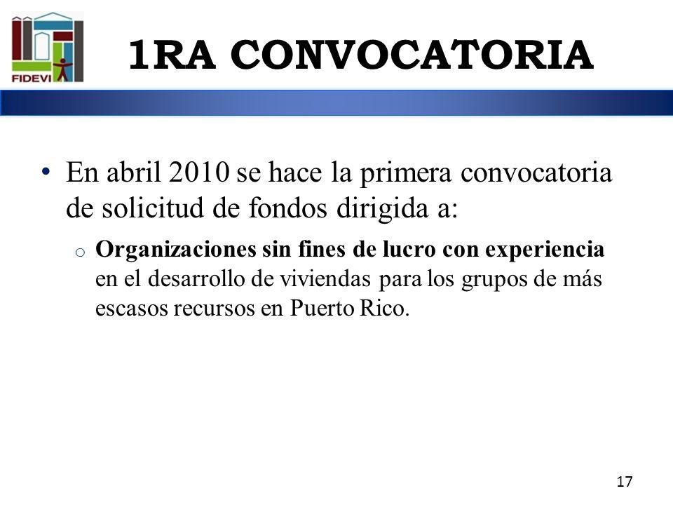 1RA CONVOCATORIA En abril 2010 se hace la primera convocatoria de solicitud de fondos dirigida a: o Organizaciones sin fines de lucro con experiencia
