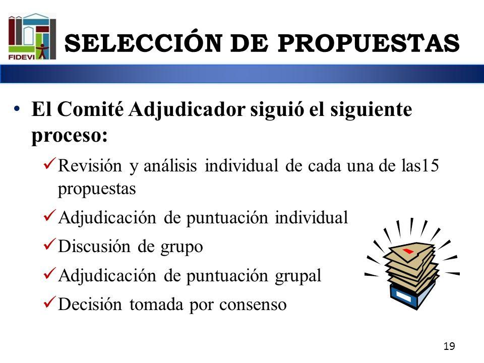El Comité Adjudicador siguió el siguiente proceso: Revisión y análisis individual de cada una de las15 propuestas Adjudicación de puntuación individua