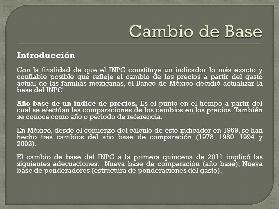 Introducción Con la finalidad de que el INPC constituya un indicador lo más exacto y confiable posible que refleje el cambio de los precios a partir del gasto actual de las familias mexicanas, el Banco de México decidió actualizar la base del INPC.