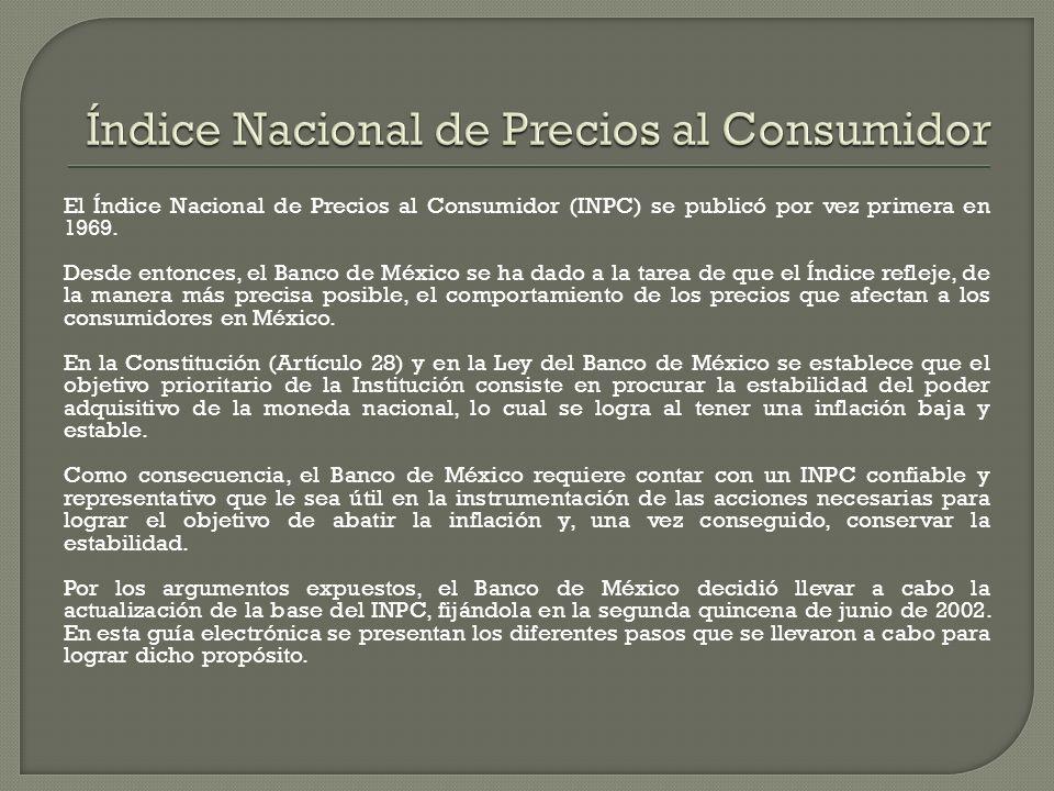 El Índice Nacional de Precios al Consumidor (INPC) se publicó por vez primera en 1969. Desde entonces, el Banco de México se ha dado a la tarea de que